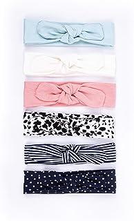 6 Pack Baby Girl Cotton Headbands For Newborn, Infant & Toddler