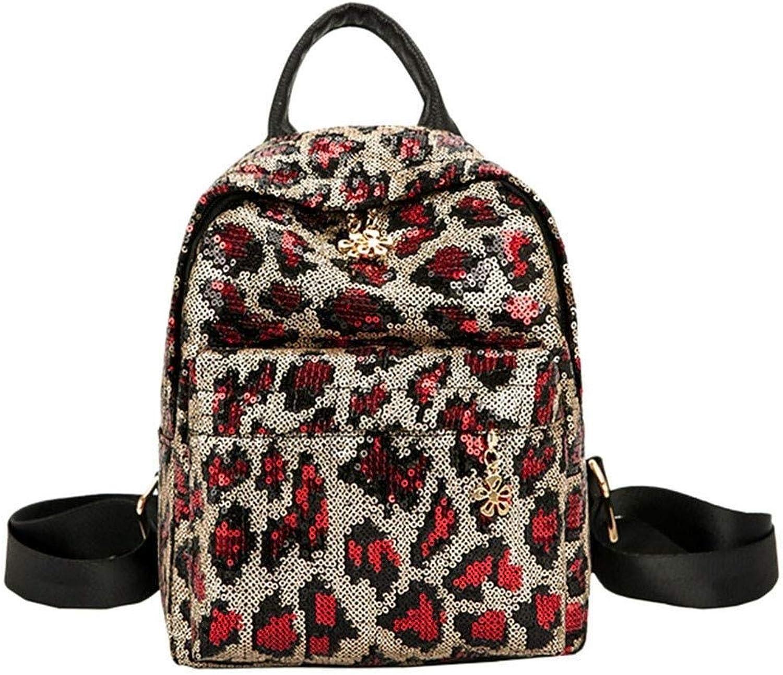 MYXMY Fashion Backpack Female Outdoor Travel Backpack Campus College Wind Sequins Versatile Light Travel Bag Leopard Shoulder Bag (color   A)