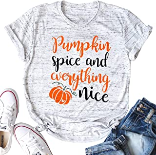Pumpkin Spice and Everything Nice Letter Print T Shirt Women Halloween Pumpkin Graphic Print T Shirt Top
