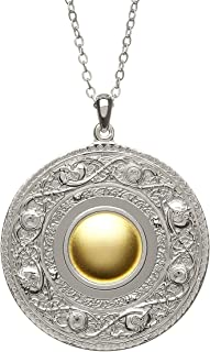 Celtic Shield Necklace Sterling Silver & 18K Gold Made in Ireland