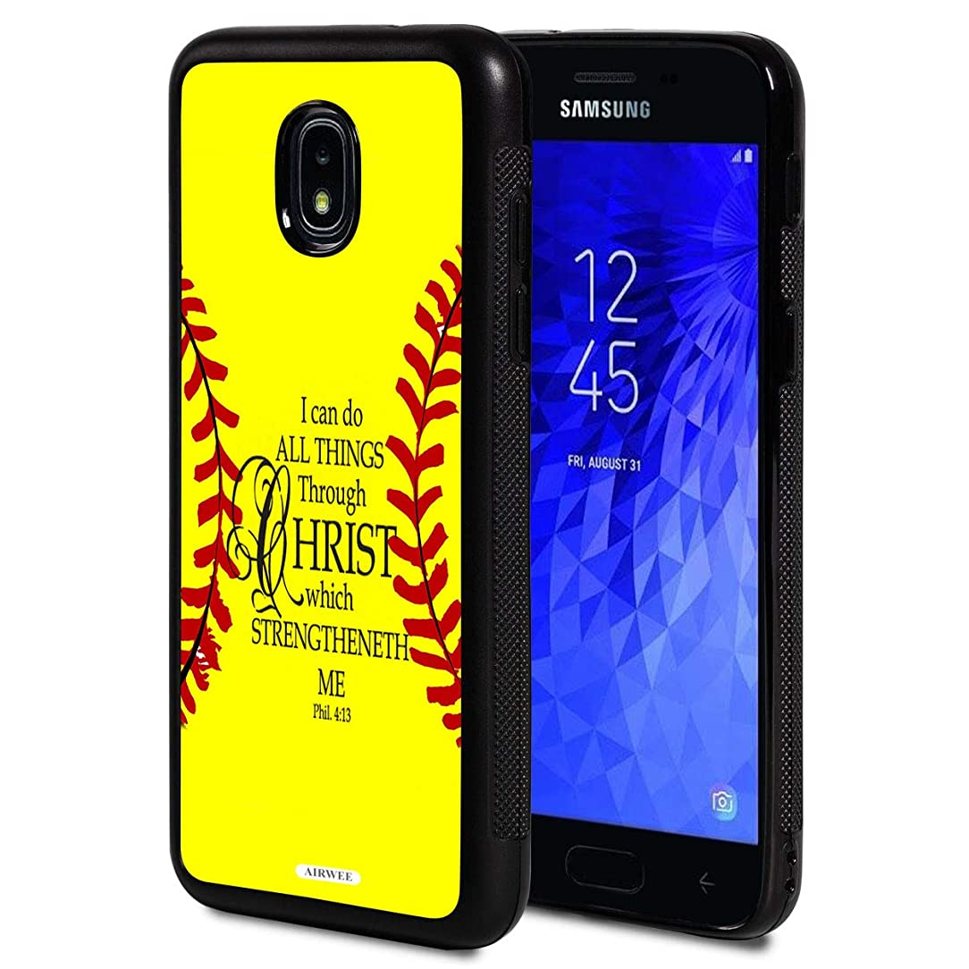Galaxy J3 2018 Case,AIRWEE Slim Anti-Scratch Shockproof Silicone TPU Back Protective Cover Case for Samsung Galaxy J3 2018,Philippians 4:13 Softball Basketball Christian