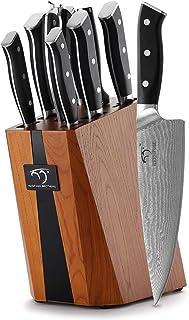 Damas Set Couteau Cuisine de Chef, Bloc de Couteaux Professionnels, Lot de Couteaux en Acier, Couteaux de Cuisine avec Blo...