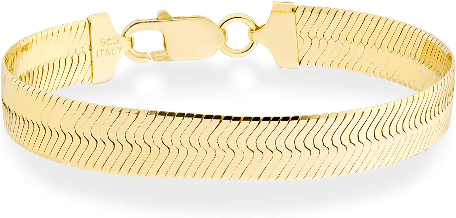 Miabella 18K Gold Over Sterling Silver Max 72% OFF Solid H Large-scale sale Flat 10mm Italian