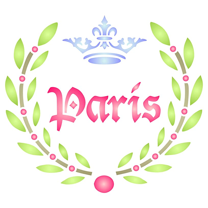 Paris Laurel Stencil - 8.5 x 8 inch (L) - Reusable Vintage French Themed Word Wall Stencils for Painting - Use on Paper Projects Scrapbook Journal Walls Floors Fabric Furniture Glass Wood etc.