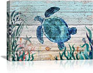 Bathroom Wall Decor Ocean Sea Turtle Wall Art Bathroom Home Decor Prints Canvas Wall Art Small Framed Artwork for Walls Vintage Paintings on Canvas Prints, 16''x24'' inch