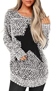 luvamia Women's Long Sleeve Crewneck Sweaters Loose Knit Star Pullover Sweaters