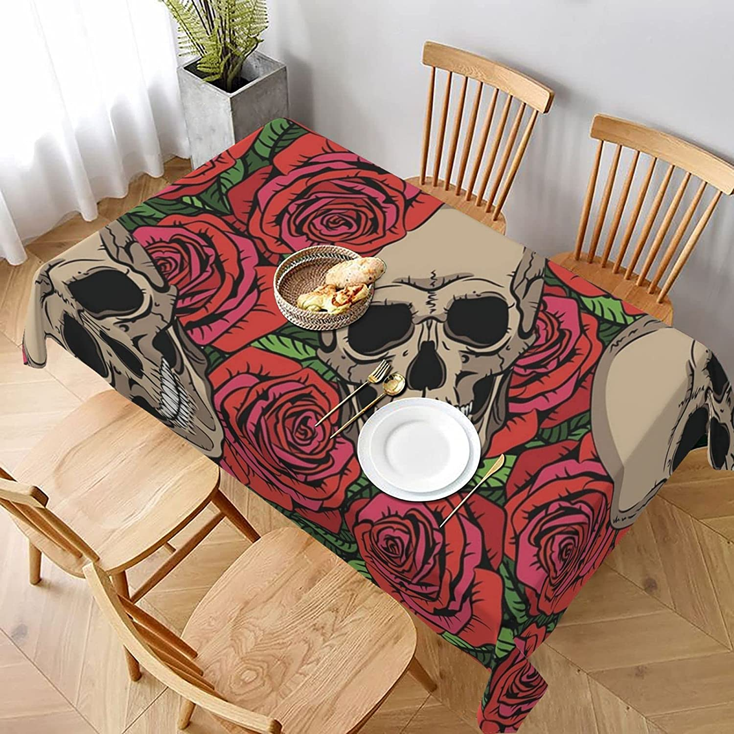 New sales Skulls and Red Roses Super sale Stain Spillproof Resistant Washable Ta