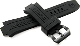 Swiss Legend 30MM Black Silicone Watch Strap Stainless Black Buckle fits 46/48mm Abyssos Watch