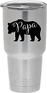 Cups drinkware tumbler sticker - Papa bear sticker - Cute inspirational cool sticker decal (Black)
