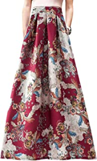 b788ae0d31 Novias Boutique Women African Floral Print Pleated High Waist Maxi Skirt  Casual A Line Skirt