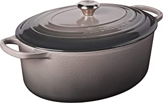 Le Creuset LS2502-357FSS Signature Enameled Cast-Iron Oval French (Dutch) Oven, 9.5 Quart, Oyster