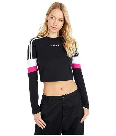 adidas Originals Cropped Long Sleeve Tee (Black) Women