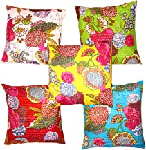 Indian Ethnic Bohemian Set of 5 Decorative Colorful Cotton Square for Sofa Set Home Decorative Fruit Design Boho Throw Pillow Case Kantha Cushion Cover 16x16