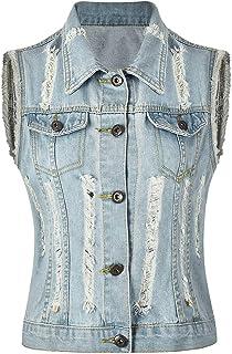 cbeadd8219a Peiqi Women s Jean Vest Cropped Denim Vest Sleeveless Denim Jacket Washed  Denim Vest