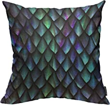 Mugod Reptile Skin Throw Pillow Cover 3D Seamless Texture of Dragon Scales Decorative Square Pillow Case for Home Bedroom Living Room Cushion Cover 18x18 Inch