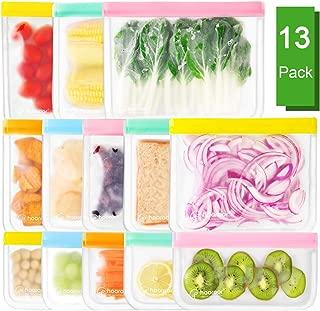 hooroor Bolsas de Almacenamiento de Alimentos Reutilizables, 13 Bolsas de ziplock de PEVA Sin BPA para Almacenaje/Alimentos/Viajes/Verduras/Frutas, Bolsas para Almacenar Sándwiches Conservación