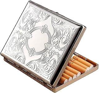 RTDotey Caja De Cigarrillos Extra Delgada Portátil De Acero Inoxidable, Caja De Cigarrillos De Plata Metálica Clásica, par...