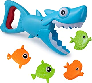 Hoovy Bath Toys Fun Baby Bathtub Toy Shark Bath Toy for Toddlers Boys & Girls Shark Grabber with 4 Toy Fish Included (Shark Grabber)