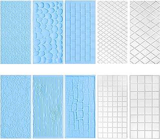 10Pcs/Set Fondant Impression Mat, Tree Bark Brick Stone Wall Flower Cobblestone Diamond Quilted Grid Texture Design Embossed Lace Embossing Mold Decorating Tools for Wedding Cake Border Decoration