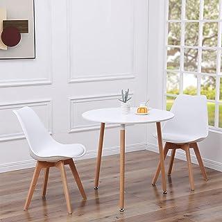 EGGREE Ensemble Table et 2 Chaises Scandinave, Table de Salle à Manger Ronde en Bois 80cm avec Chaises de Cuisine - Blanc