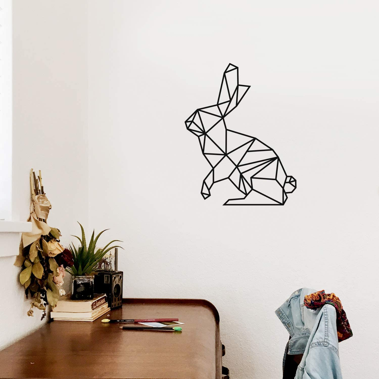 Rabbit Vinyl Wall Art Decal 21 x 17 Trendy Cool Fun Abstract Geometric Bunny Design Shape Sticker for Bedroom Kids Room Playroom Nursery Daycare Classroom Office Decor Black
