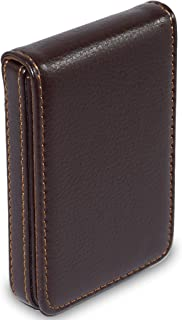 NISUN Leather Pocket Sized Business/Credit/ATM Card Holder case Wallet with Magnetic Shut for Gift Brown (Vertical Flap Shape)