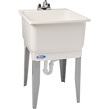 Mustee 14CP Polypropylene Freestanding Tub Utility Sink with Drain and Faucet, One Size, White