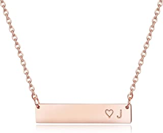 """Best Rose Gold Plated Stainless Steel Initial Heart Bar Necklace Alphabet Pendant Necklace for Women Mother, 16""""+2"""" Review"""