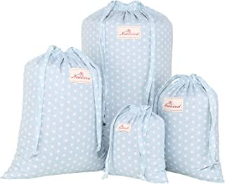 NEOVIVA Cotton Storage Bag with Drawstrings, Set of 4 in Multiple Sizes, Polka Dots Baby Blue