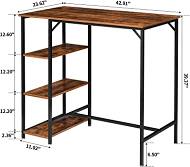 """IBUYKE 40""""H Bar Table, Industrial Standing Computer Desk with 3 Storage Shelves, High Dining Table for Kitchen, Rustic Brown"""