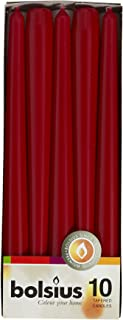 """Bolsius Tapered Dinner Candles, """"Dark Red Box"""", Pack of 10"""