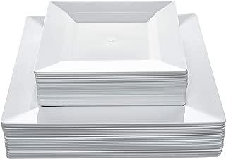 Disposable Square Plastic Plates - 60 Pack - 30 x 9.5