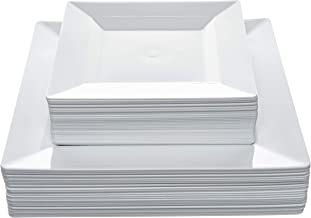 "Disposable Square Plastic Plates - 60 Pack - 30 x 9.5"" Dinner and 30 x 6.5"" Salad Combo - Premium Heavy Duty- By Aya's Cut..."