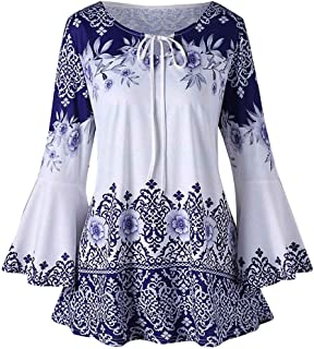 Tops Blouses Womens Fashion Plus Size Printed Flare Sleeve T-Shirts