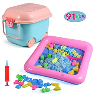 Juboury Play Sand and Sand Molds Kit - 4.4 lbs of Magic Sand with 91 Pcs Sand Molds, 1 Sand Tray, 1 Storage Box, Non-Toxic Sand Play Set for Kids