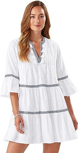 Cotton Clip Embellished Tier Dress