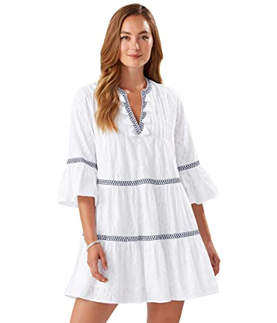 Tommy Bahama Cotton Clip Embellished Tier Dress (White) Women