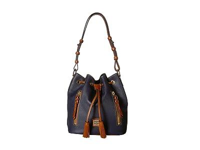 Dooney & Bourke Pebble Cooper Drawstring (Midnight Blue/Tan Trim) Drawstring Handbags