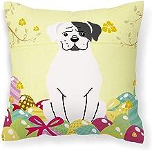 "Caroline's Treasures BB6114PW1414 Easter Eggs White Boxer Cooper Fabric Decorative Pillow, 14 x 14"", Multicolor"
