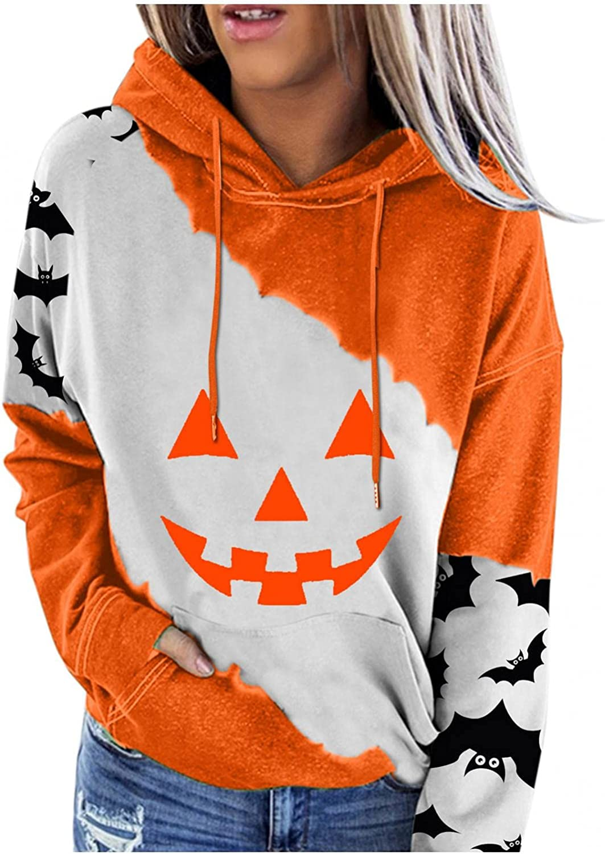 felwors Hoodies for Women, Womens Casual Halloween Pumpkin Cute Print Hooded Coat Loose Drawstring Pullover Sweatshirts