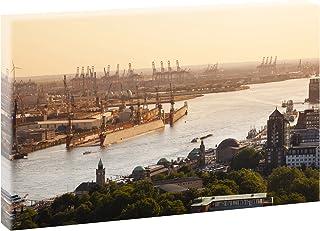 Querfarben Hamburg – Hafen bei Sonnenuntergang | Panoramab