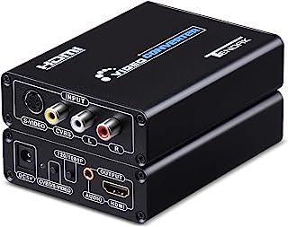 Tendak 3RCA AV CVBS Composite & S-Video R/L Audio to HDMI Converter Adapter Upscaler Support 720P/1080P with 3RCA S-Video ...