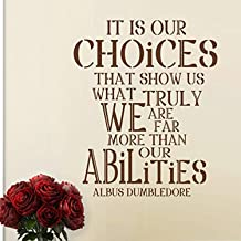 It is Our Choices Custom Vinyl Inspirational Wall Decal Harry Potter Quote Albus Dumbledore Saying Words Wall Letters Home Art Decoration