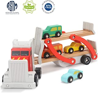 TOP BRIGHT Wooden Car Toys for 2 3 Year Old Boy Gifts Toddler Boys Truck and Car Ramp Toy with 4 Mini Cars