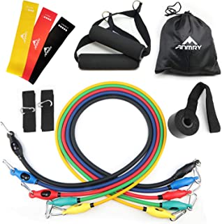 ANMRY Resistance Bands Set, 5 Exercise Bands with Door Anchor, Handles, Ankle Straps and Storage Bag, Stackable up to 150 ...