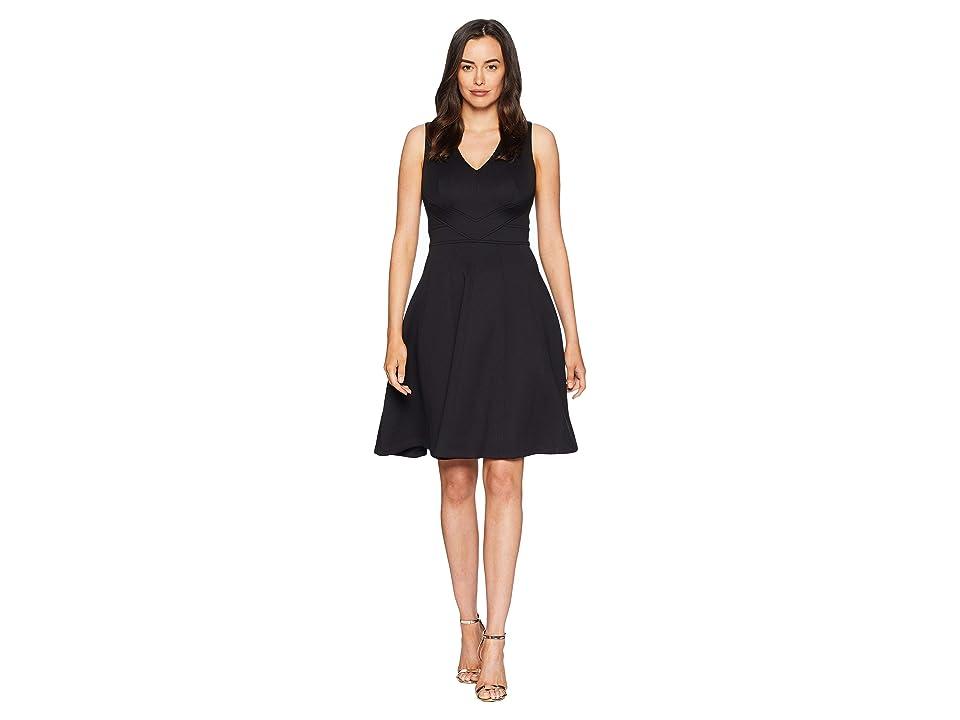 Calvin Klein V-Neck Fit Flare Dress CD8M14QF (Black) Women