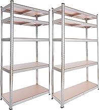 2x Arebos rek voor zware lasten kelderrek opslagrek steekplank / 180x90x40cm / 5 MDF platen / set van 2 / 875 kg
