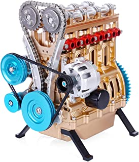 FenglinTech Stirling Engine, V4 4 Cylinder Full Metal Car Engine Assembly Kit Model Toys for Adults