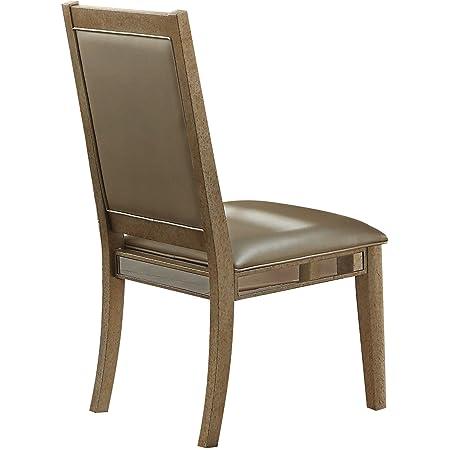 Amazon Com Acme Furniture Acme 72012 Rosetta Side Chair Silver Pu Antique Beige Set Of 2 Chairs