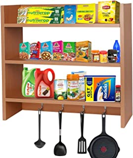 Callas Wooden Wall Mounted Shelves with Hooks | Floor Rack | Organizer | Shelf for Kitchen Storage Boxes (3 Shelves | Colo...